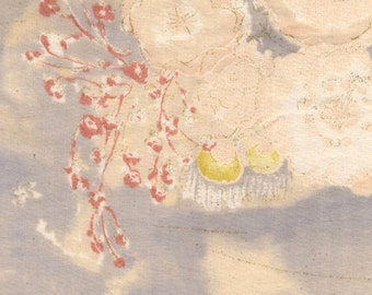"""Nani Iro Komorebi in """"Overjoyed"""" abstract floral in pale grays, beige, cotton double gauze fabric, by the yard"""