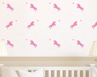 Unicorn And Star Silhouette | Removable Wall Sticker & Decal | LSB0279VCC