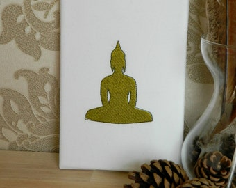 Embroidered Buddha Statue Canvas In Olive Gold Buddhist Gift Idea Home Decor
