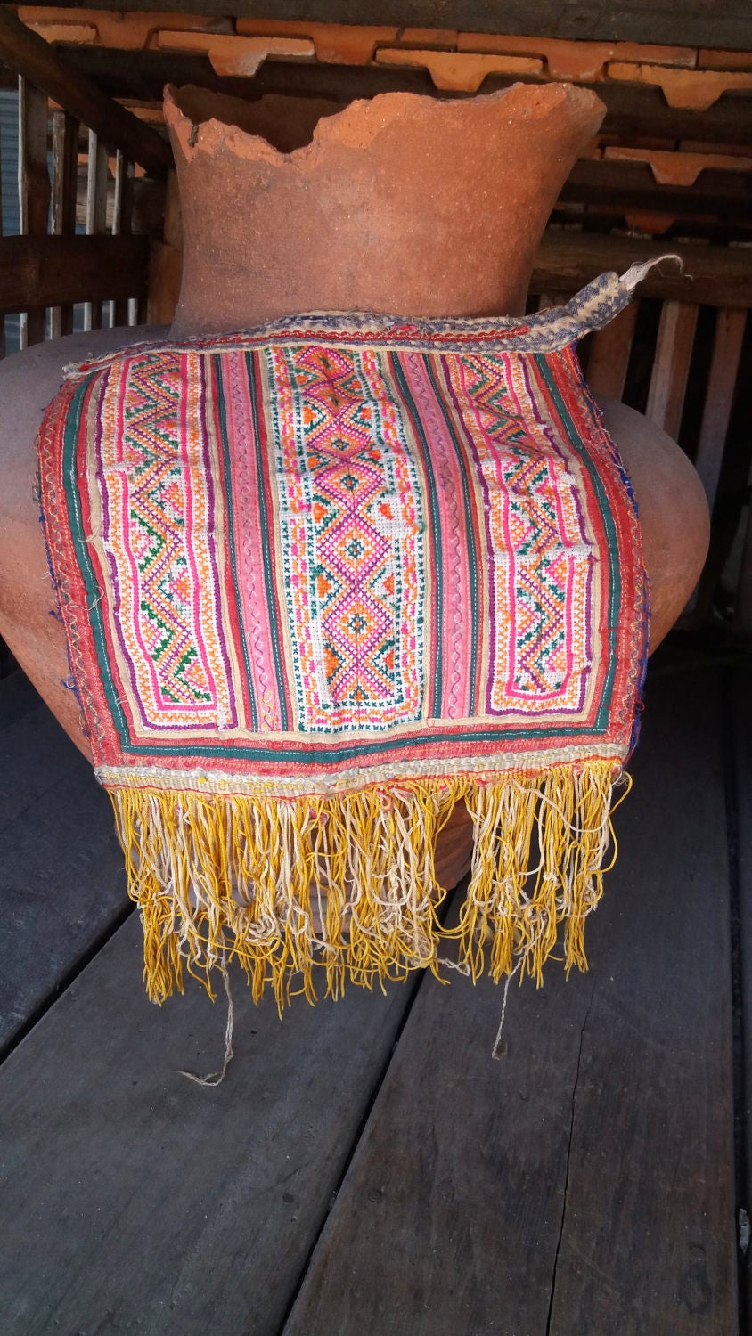 Hmong thai embroidered hobo boho fabric supply from