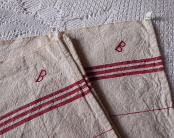 2 Antique French linen towels red striped kitchen dish towels monogrammed B French torchon tea towels w red stripes, vintage kitchen linens