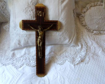 Antique French cross crucifix BIG religious wall crucifix, wood w wooden inlay, brass, spelter Jesus Christ, letters INRI, church decor