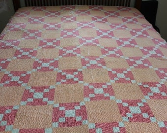 Vintage irish chain quilt in red gold and green