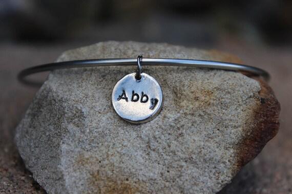 Stamped Name Charm - Mantra Bangle Bracelets - Interchangeable Charm Bracelets, Gift for Mother, Name Charm Bracelet, Mothers, Charm Only