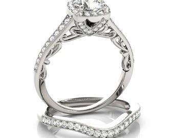 14K Gold Cushion Halo Diamond Engagement Ring Setting Semi-Mount Mounting