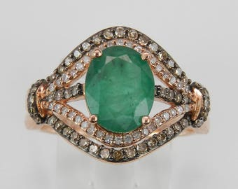 Emerald and Fancy Diamond Engagement Ring 14K Rose Gold Size 7 May Birthstone