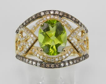 14K Yellow Gold Fancy Diamond and Peridot Engagement Wide Cocktail Ring Size 7 August Birthstone