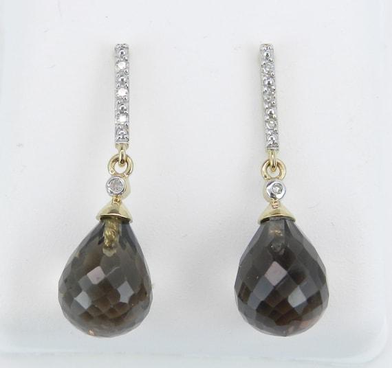 Briolette Smokey Topaz and Diamond Dangle Earrings 14K Yellow Gold Wedding Gift