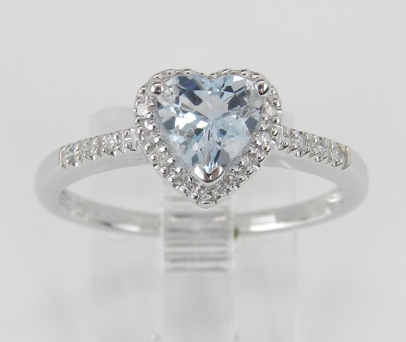 Diamond and Heart Aquamarine Halo Engagement Ring Aqua White Gold Size 7 March Birthday