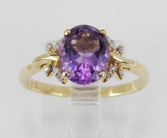 Diamond and Amethyst Engagement Ring 14K Yellow Gold Size 7 Dragonfly Accents
