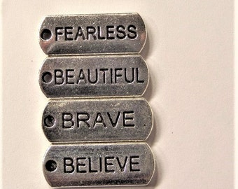 4CT word charms, 20*8mm, Y39B, Brave, Fearless, Believe, beautiful