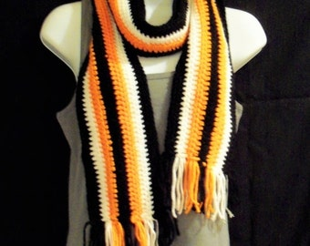 ON SALE Orange, Black, and White Striped Scarf with Fringe - Oregon Beavers/ SF Giants/ Bengals Inspired Scarf - Sports Team Accessory