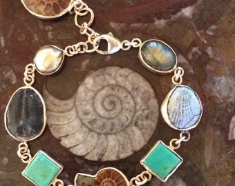 Turquoise Fossil and Mineral Gold-filled Adjustable Open Bezel-set Bracelet with Dangle
