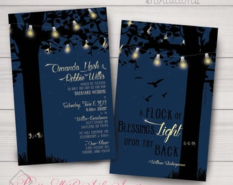 Invitations, Wedding, Shower, Night, Birds, Crow, Country, Backyard, Glow, Lights, Evening, Tree. Samples/Digital Files/Printing Available