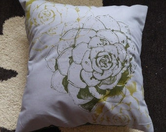 Succulent hand screen printed grey and green cushion cover