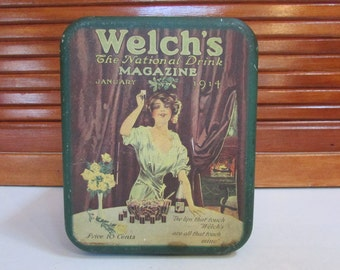 Vintage Welch's Drink Tin The National Drink Magazine