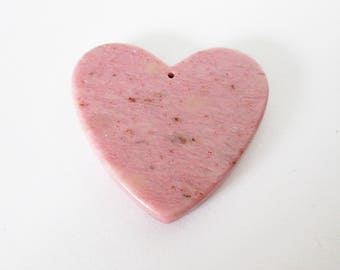 Pink Petrified Wood Agate Drilled Heart Cabochon 85.70cts