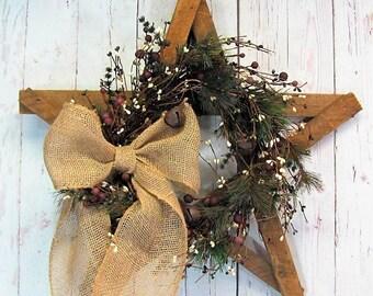 Primitive Christmas Star - Pinecone Wreath - Christmas Wreath - Holiday- Front Door Decor - Rustic Star Wreath - Tobacco Lathe Star