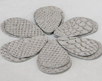 12pcs  Leather Teardrops, Beige and Gold  Snakeskin Embossed Genuine Leather