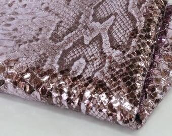 New Snakeskin Print Genuine Leather, Metallic Pale Violet Goat Skin