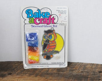 Vintage Bake A Craft Kit Owl Stained Glass Sun Catcher