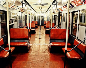 New York Photography, Subway Art, New York Subway, Subway Car, Train Photography, Travel Art, Dorm Decor, New York Office Art, NYC Subway
