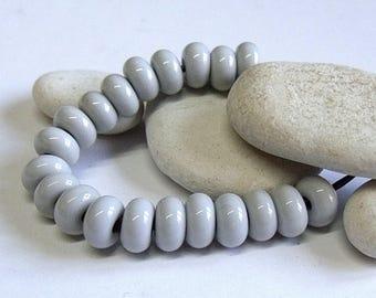 Pearl Grey, Lampwork Spacer Beads, SRA, UK