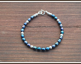 Blue Freshwater Pearl Bracelet, Blue Iris Pearl Bracelet, Freshwater Pearl Bracelet, Blue Pearl Bracelet, Blue and Silver Pearl Bracelet