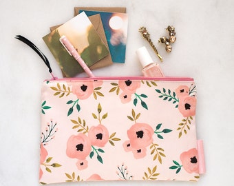 Floral Zipper Pouch - Gift for Her - Zipper Pouch - Makeup Bag