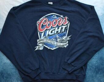 Vintage 90s Coors Light The Silver Bullet Beer Crew Neck Sweatshirt
