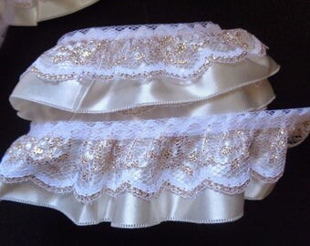 """1 1/4"""" ruffled Lace with 1 1/2"""" Ribbon. Metallic Gold/ivory selling by the yard"""