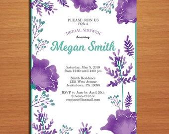 Lavendar Floral Bridal Shower Customized Printable Invitations /  DIY