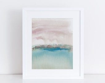 Modern Art Print, Colorful Print, Drip, Abstract Landscape, clouds, sky, Sea, Ocean, Water
