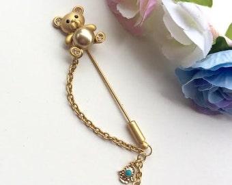 Neshuma Evil Eye Stroller Pin Brooch Bear Newborn Baby Shower Gift