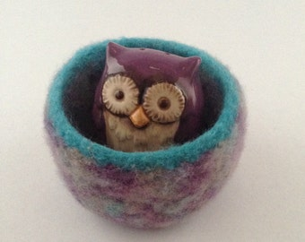 felted wool bowl, felted wool container, wool basket, lavender, grey and turquoise colored wool