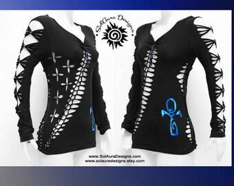 ANKH IN BLUE -  Junior / Womens Shredded Top, Long Sleeve Cut Up Black Top, Club Wear, Yoga Wear