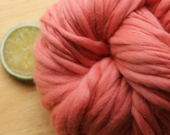 Coral Cuite - Handspun Wool Yarn Blush Peach Thick and Thin Skein