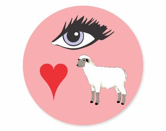 I Love You, Eye Heart Ewe Labels Stickers