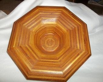 Vintage Retro Artisan made decorative Octagon shaped wooden bowl (butcher block) OOAK