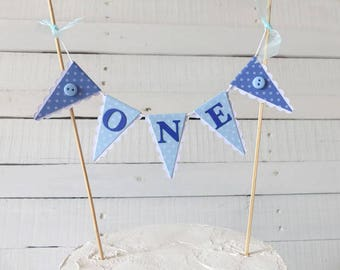 Boy's First Birthday Cake Bunting Topper - Blue ONE Topper with Polka Dots & Buttons