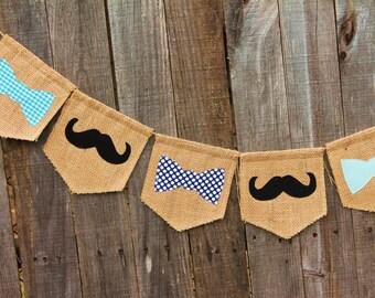 Mustache Banner, Bow Tie Banner, Little Man Burlap Banner, Mustache Burlap Bunting, Bow Tie Garland