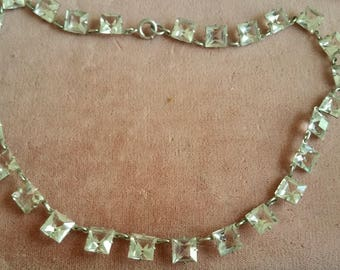 Vintage silver Art Deco Open Back Crystal Necklace