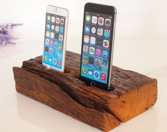iPhone dual dock - iPhone 5/6/7 charging - iPhone 7 dock / iPhone 7 plus charging station - handmade from old barnwood