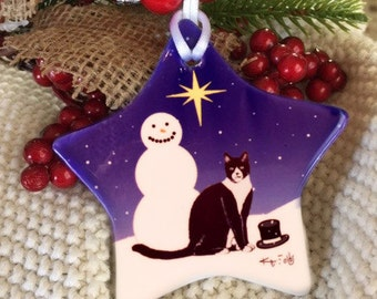 Black and White Tuxedo Cat Christmas Ceramic Ornament