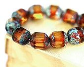 Fire Polished Amber Topaz beads, Picasso czech glass round cut 8mm beads - 15Pc - 0011