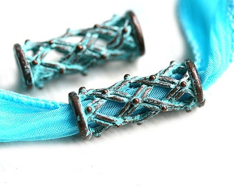 2pc Patina long Tube beads, ornament metal beads, Rustic Greek casting beads, Lead Free, 20mm - F004