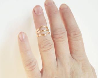 Set of 3 Gold Rustic Knuckle Rings - Soldered Midi Rings Stacking Rings - Solid Sustainable 10K Yellow Gold - Made to Order
