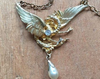 Antique Pendant Gold Tone Pendant Necklace Dragon Pendant Faux Baroque Pearl Rhinestone Victorian French Jewelry