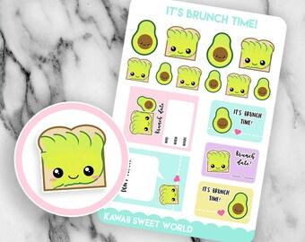 Kawaii Avocados and Avocado Toast | Planner Sticker Sheet