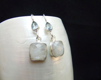 Blue Topaz & Moonstone Sterling Silver Drop Earrings